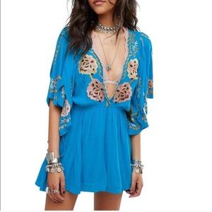 Free People turquoise embroidered flutter dress